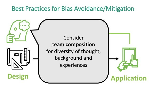 Design Data Model Application Best Practices for Bias Avoidance/Mitigation Consider team composition for diversity of thou...