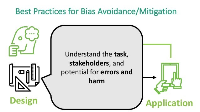 Design Data Model Application Best Practices for Bias Avoidance/Mitigation Understand the task, stakeholders, and potentia...