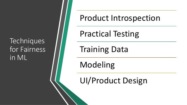 Techniques for Fairness in ML Product Introspection Practical Testing Training Data Modeling UI/Product Design