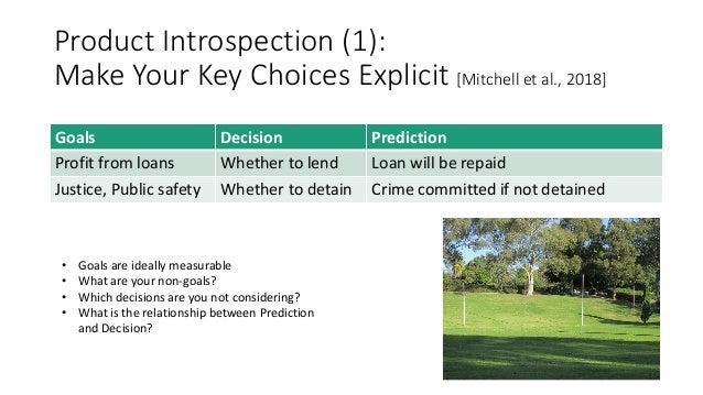 Product Introspection (1): Make Your Key Choices Explicit [Mitchell et al., 2018] Goals Decision Prediction Profit from lo...