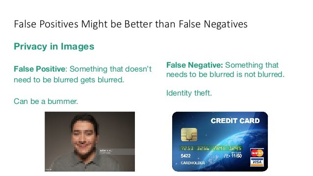 Privacy in Images False Positive: Something that doesn't need to be blurred gets blurred. Can be a bummer. False Negative:...