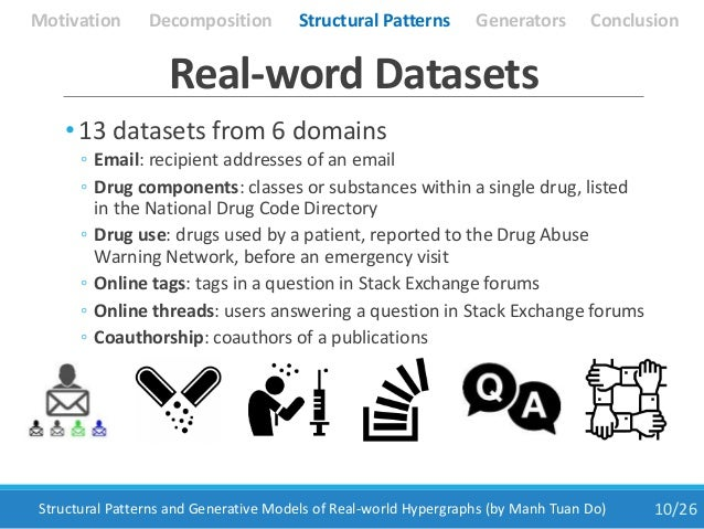 • 13 datasets from 6 domains ◦ Email: recipient addresses of an email ◦ Drug components: classes or substances within a si...