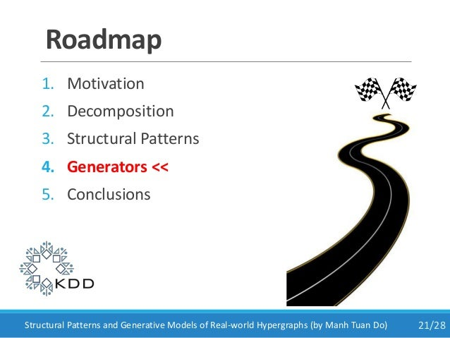 Roadmap 1. Motivation 2. Decomposition 3. Structural Patterns 4. Generators << 5. Conclusions 21/28Structural Patterns and...
