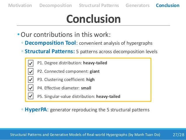 27/28Structural Patterns and Generative Models of Real-world Hypergraphs (by Manh Tuan Do) Conclusion Motivation Structura...