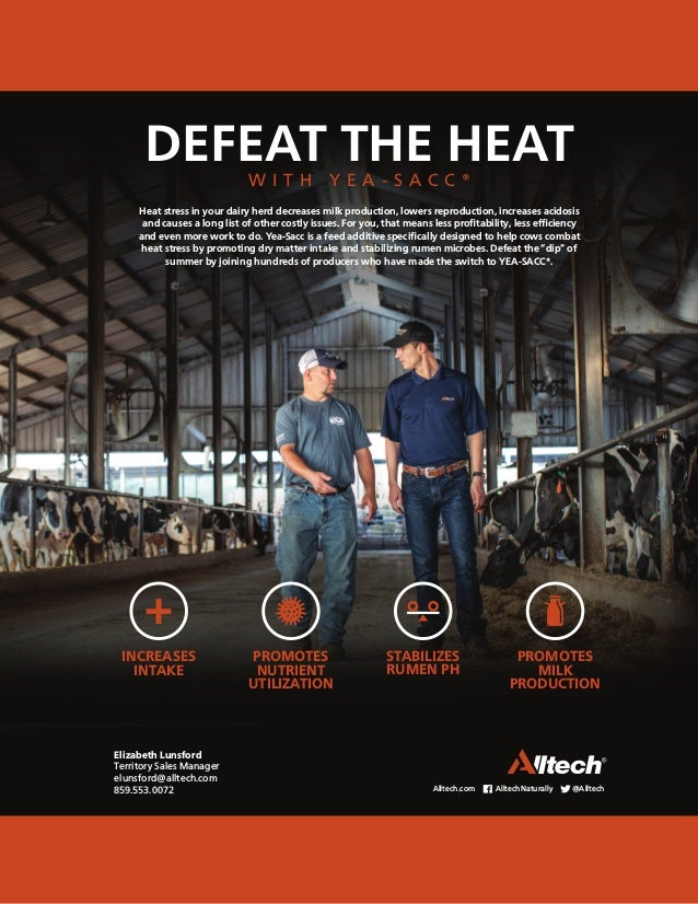 DEFEAT THE HEAT W I T H Y E A - S A C C ® Heat stress in your dairy herd decreases milk production, lowers reproduction, i...