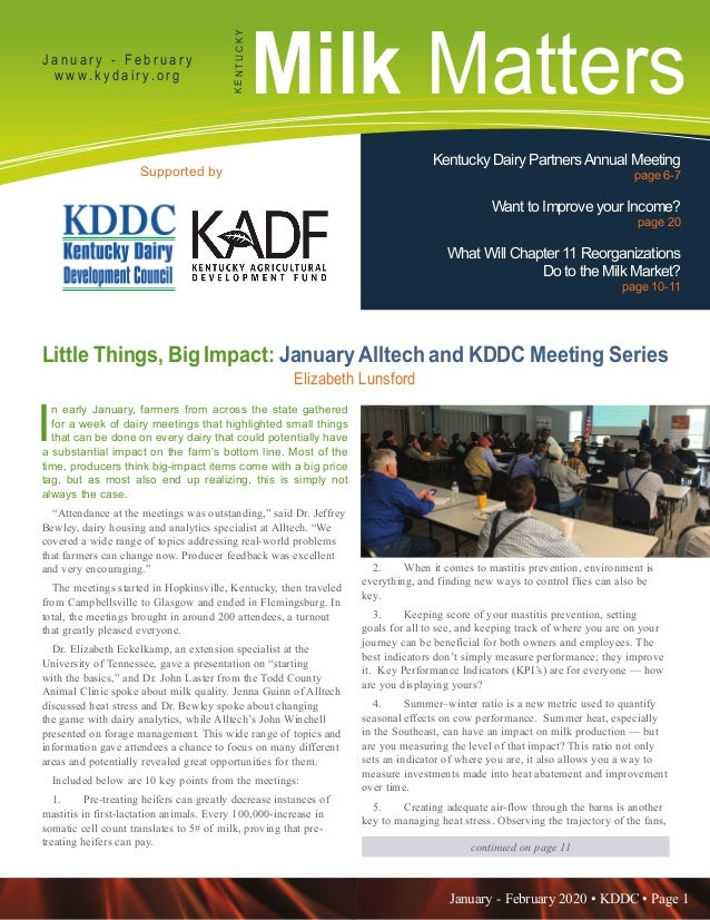 January - February 2020 • KDDC • Page 1 KDDC is supported in part by a grant from the Kentucky Agricultural Development Fu...