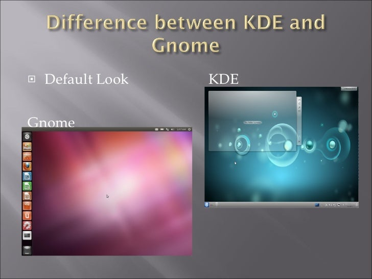 <ul><li>Default Look KDE </li></ul><ul><li>Gnome </li></ul>