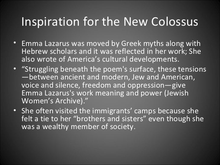 the new colossus by emma lazarus essay You will write and submit a 5-7 page essay (double-spaced, 12-point font) in mla format addressing the prompts below  the new colossus by emma lazarus.