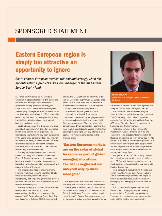 Luka Flere, manager of the KD Eastern Europe Equity fund
