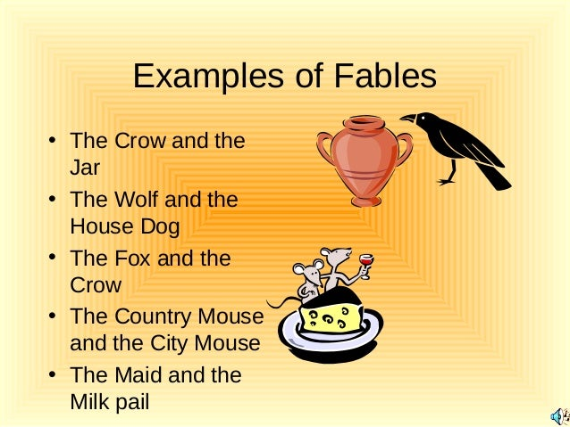 examples of fable Fables definition, a short tale to teach a moral lesson, often with animals or  inanimate  examples word origin see more synonyms for fable on thesaurus com.