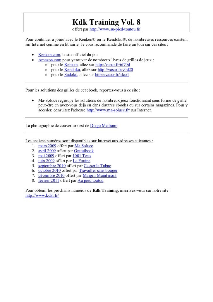 Kdk Training Vol. 8                            offert par http://www.au-pied-toutou.fr/Pour continuer à jouer avec le Kenk...