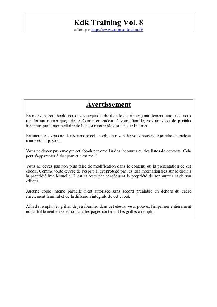 Kdk Training Vol. 8                           offert par http://www.au-pied-toutou.fr/                                   A...