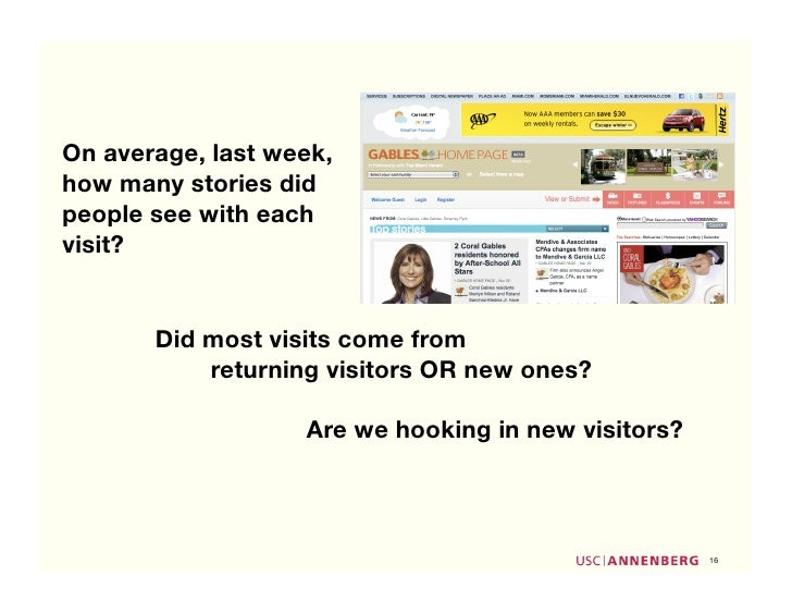 On average, last week, how many stories did people see with each visit?          Did most visits come from            retu...
