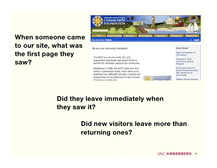 When someone came to our site, what was the first page they saw?                 Did they leave immediately when           ...