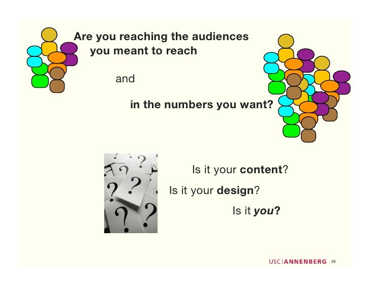 Are you reaching the audiences    you meant to reach         and           in the numbers you want?                       ...