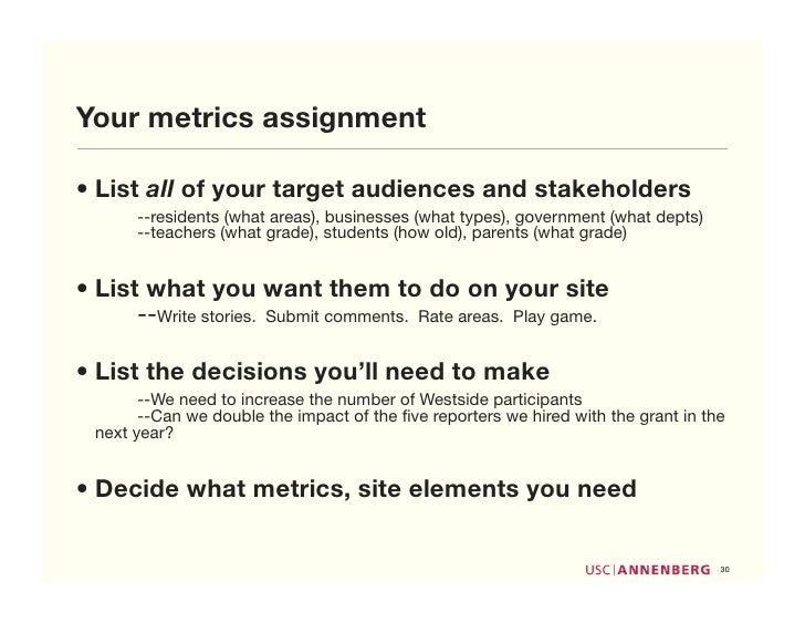 Your metrics assignment  • List all of your target audiences and stakeholders        --residents (what areas), businesses ...