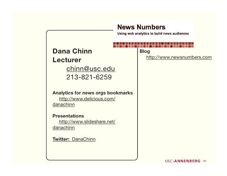Dana Chinn                          Blog                                        http://www.newsnumbers.com Lecturer     ch...