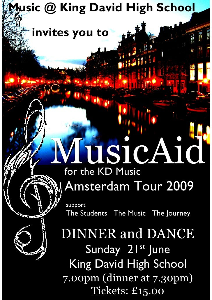 Music @ King David High School     invites you to           MusicAid          for the KD Music          Amsterdam Tour 200...