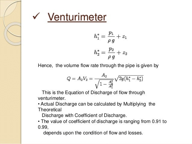 Venturimeter application of bernoullis law 13 venturimeter hence the volume flow rate ccuart Image collections