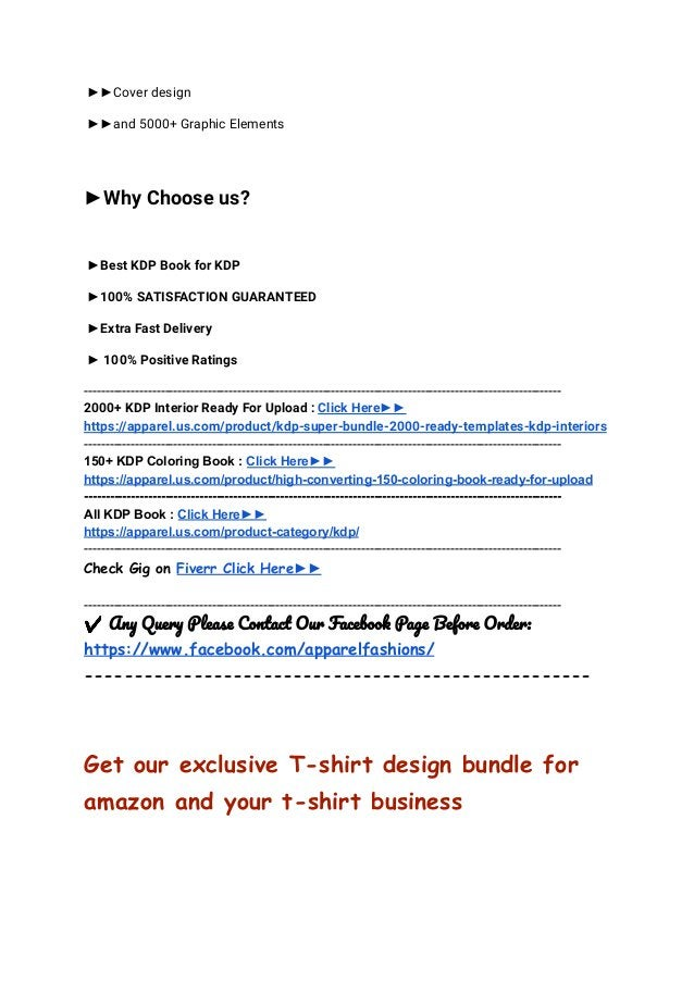 ►►Cover design ►►and 5000+ Graphic Elements ►Why Choose us? ►Best KDP Book for KDP ►100% SATISFACTION GUARANTEED ►Extra Fa...