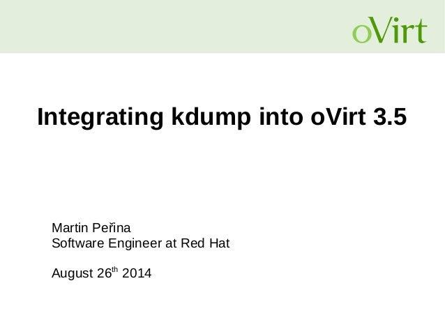 Integrating kdump into oVirt