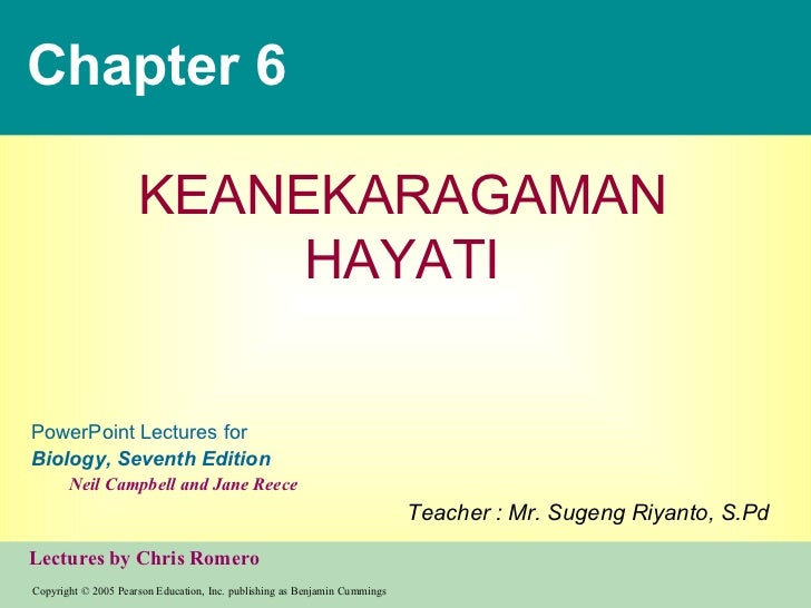 Chapter 6 KEANEKARAGAMAN HAYATI Teacher : Mr. Sugeng Riyanto, S.Pd