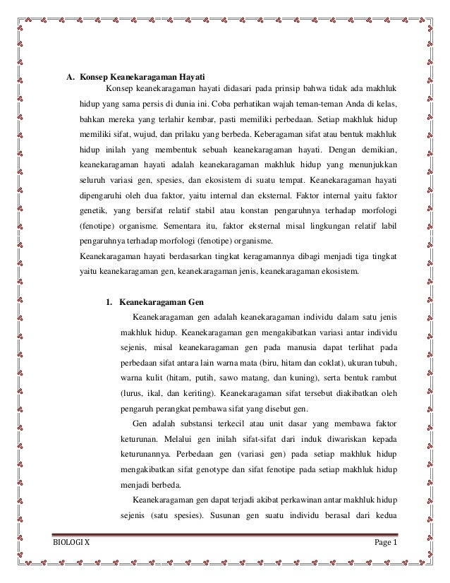 BIOLOGI X Page 1 A. Konsep Keanekaragaman Hayati Konsep keanekaragaman hayati didasari pada prinsip bahwa tidak ada makhlu...
