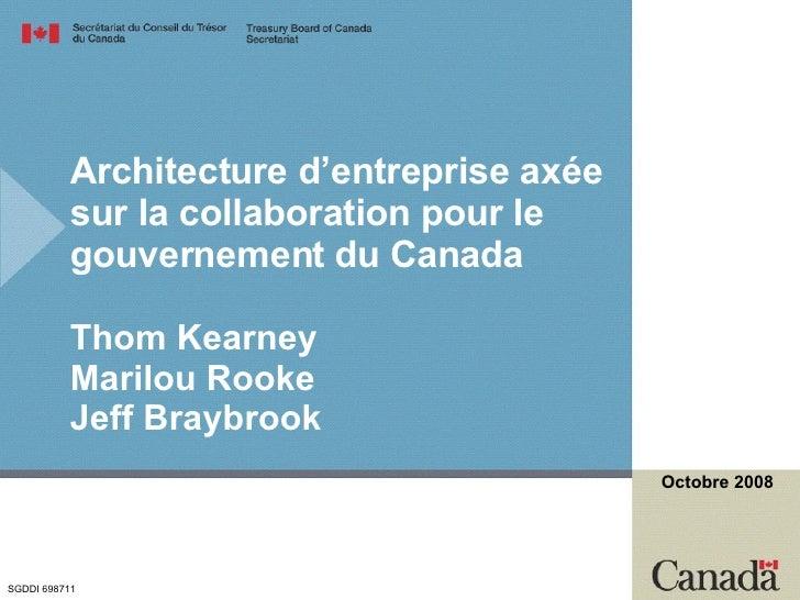 Architecture d'entreprise axée sur la collaboration pour le gouvernement du Canada Thom Kearney Marilou Rooke Jeff Braybro...