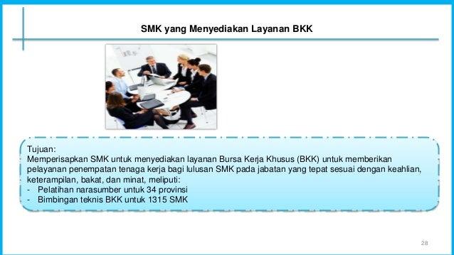 Tujuan: Memperisapkan SMK untuk menyediakan layanan Bursa Kerja Khusus (BKK) untuk memberikan pelayanan penempatan tenaga ...