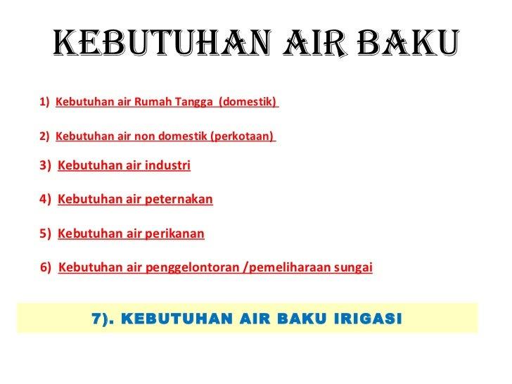 KEBUTUHAN AIR BAKU1) Kebutuhan air Rumah Tangga (domestik)2) Kebutuhan air non domestik (perkotaan)3) Kebutuhan air indust...