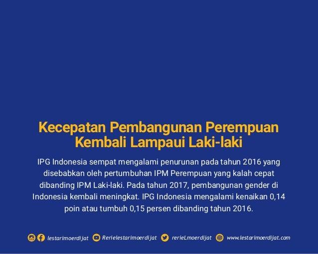 IPG Indonesia sempat mengalami penurunan pada tahun 2016 yang disebabkan oleh pertumbuhan IPM Perempuan yang kalah cepat d...