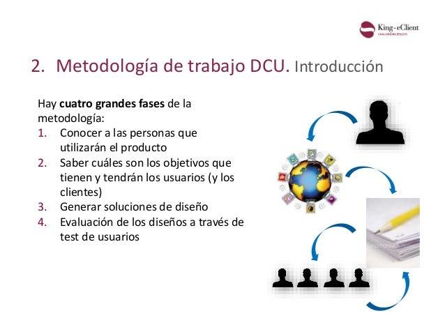 2. Metodología de trabajo DCU. Introducción Hay cuatro grandes fases de la metodología: 1. Conocer a las personas que util...