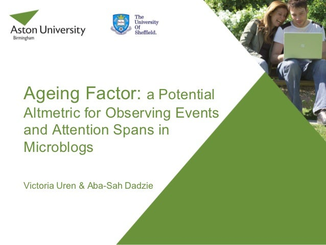 Ageing Factor: a PotentialAltmetric for Observing Eventsand Attention Spans inMicroblogsVictoria Uren & Aba-Sah Dadzie