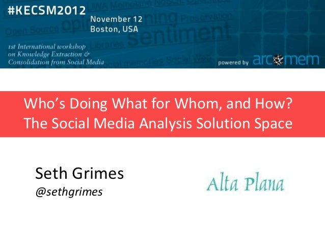 Who's Doing What for Whom, and How?The Social Media Analysis Solution Space Seth Grimes @sethgrimes