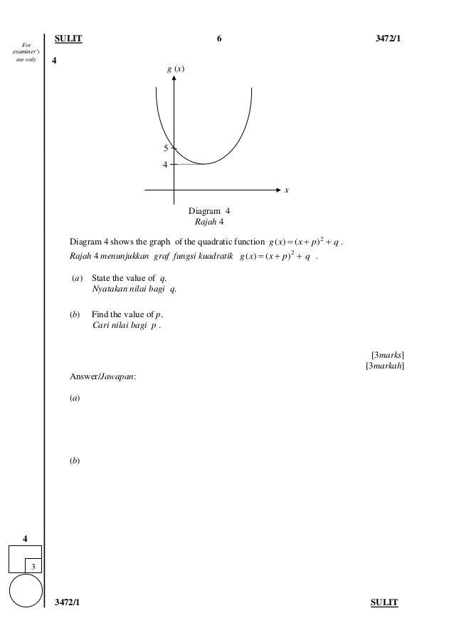 SULIT 6 3472/1 3472/1 SULIT 4 Diagram 4 shows the graph of the quadratic function 2 ( ) ( )g x x p q   . Rajah 4 menunj...