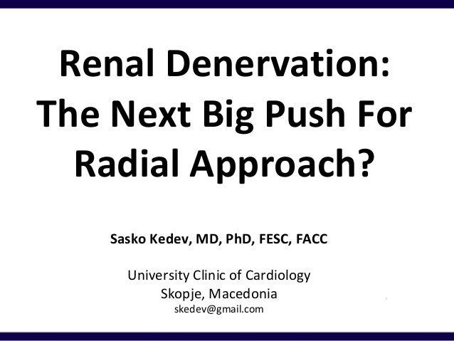 Renal Denervation: The Next Big Push For Radial Approach? Sasko Kedev, MD, PhD, FESC, FACC University Clinic of Cardiology...