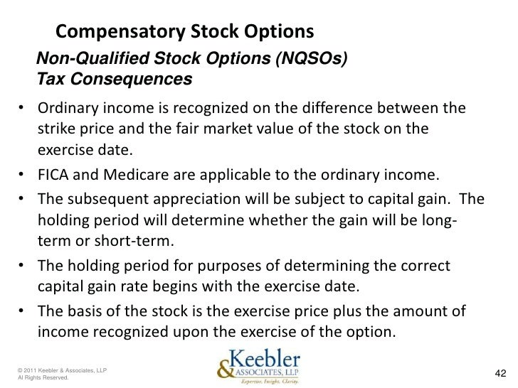 Tax implications of qualified stock options