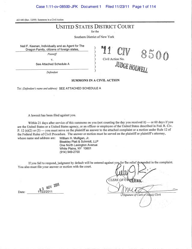 AO 440 (Rev. 12/09) Summons in a Civil Action UNITED STATES DISTRICT COURT for the Southern District ofNew York Neil F. Ke...