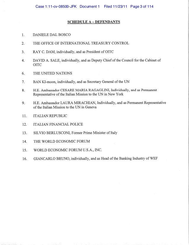 Neil F. Keenan; The Dragon Family v. Danielle Dal Bosco; The United Nations and al. (Nov. 23, 2011) Slide 3