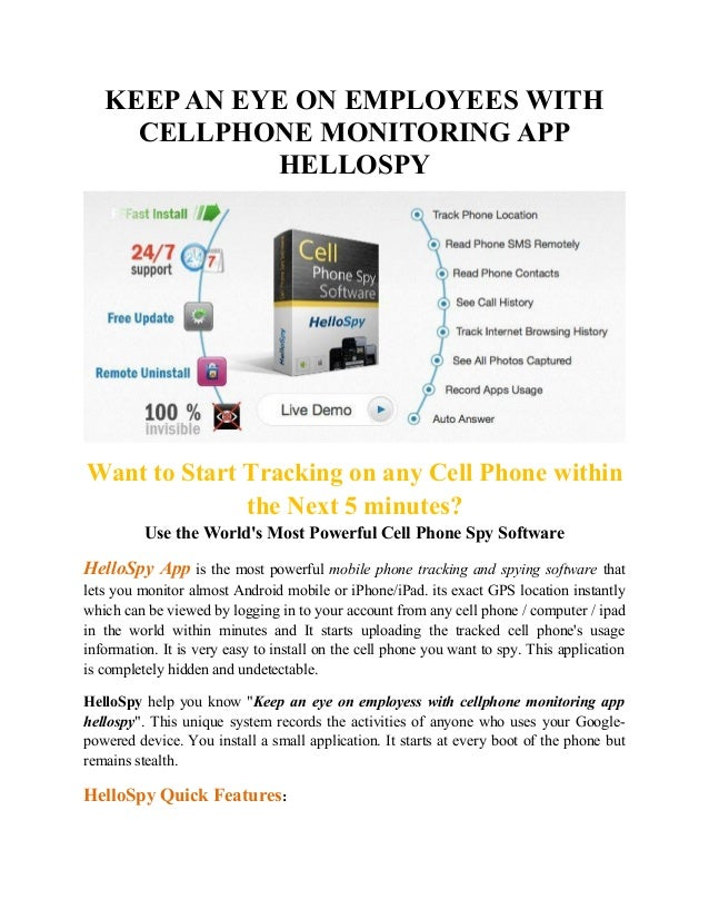 Keep an eye on employess with cellphone monitoring app ...