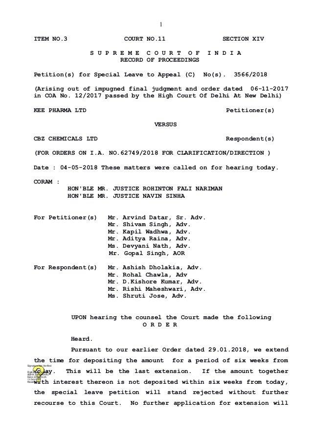 Kee Pharma Ltd vs Cbz Chemicals Ltd Supreme Court Orders on 4 May, 20…