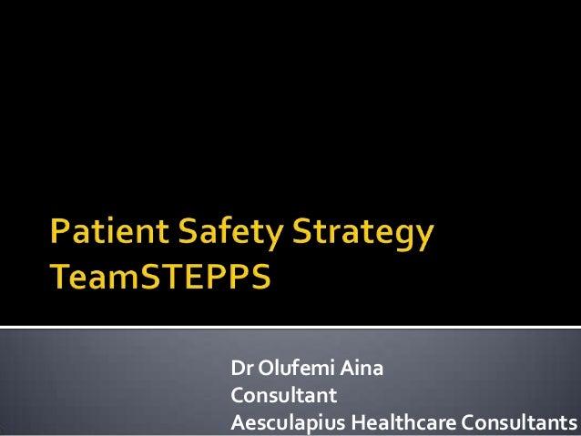 Dr Olufemi Aina Consultant Aesculapius Healthcare Consultants