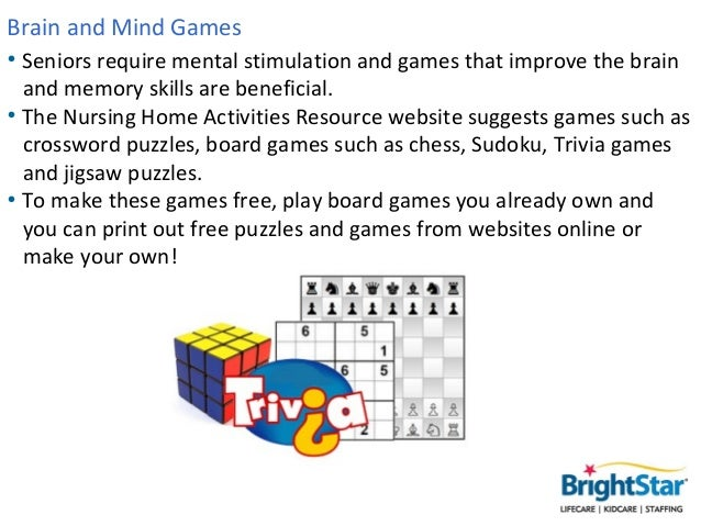 physical brain games activity