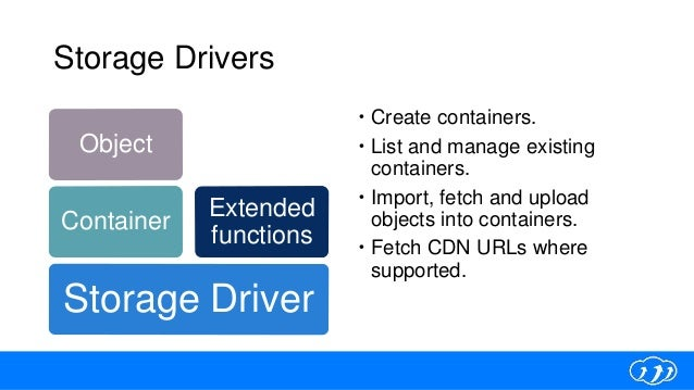 Storage Drivers  Create containers.  List and manage existing containers.  Import, fetch and upload objects into contai...
