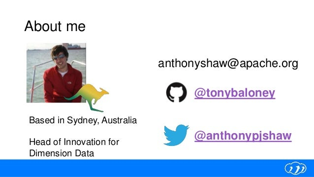 About me @anthonypjshaw @tonybaloney anthonyshaw@apache.org Based in Sydney, Australia Head of Innovation for Dimension Da...