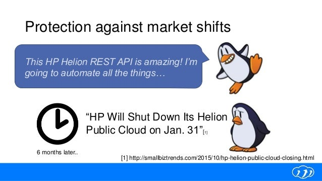 Protection against market shifts [1] http://smallbiztrends.com/2015/10/hp-helion-public-cloud-closing.html 6 months later....