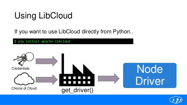 Using LibCloud If you want to use LibCloud directly from Python.. $ pip install apache-libcloud Credentials Choice of Clou...