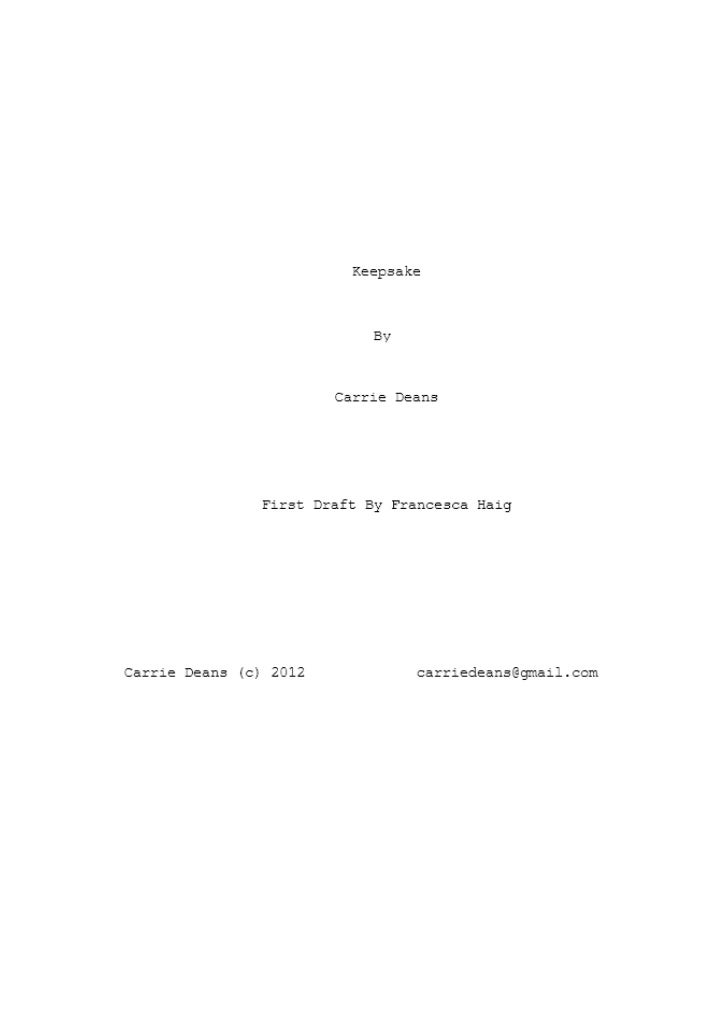 Keepsake 2nd draft script by carrie deans