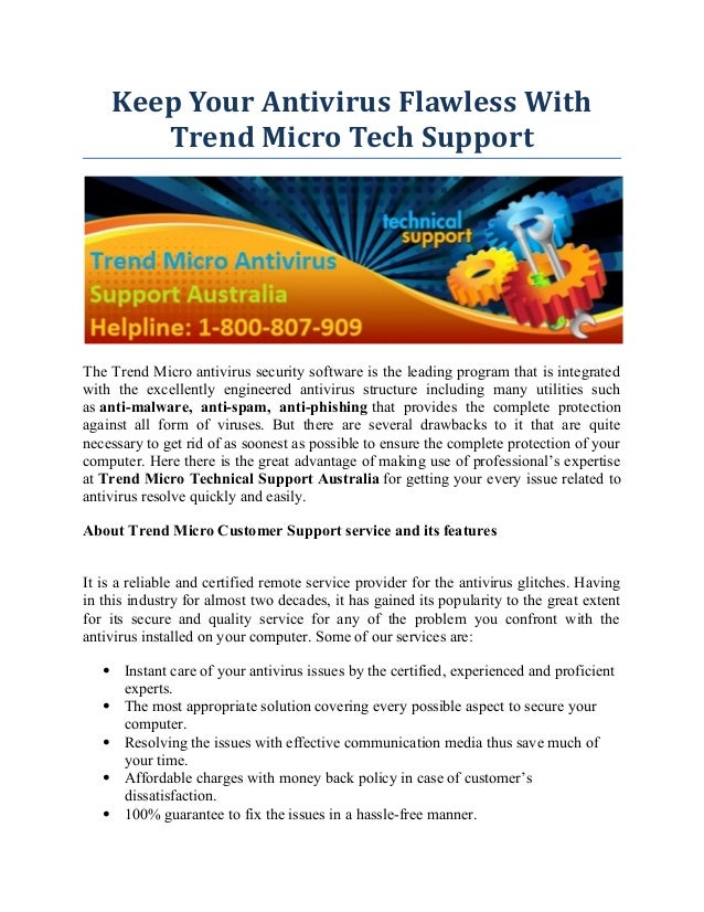 Keep Your Antivirus Flawless With Trend Micro Tech Support Australia