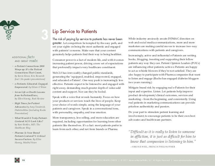 3       Lip Service to Patients                                      The risk of paying lip service to patients has never ...